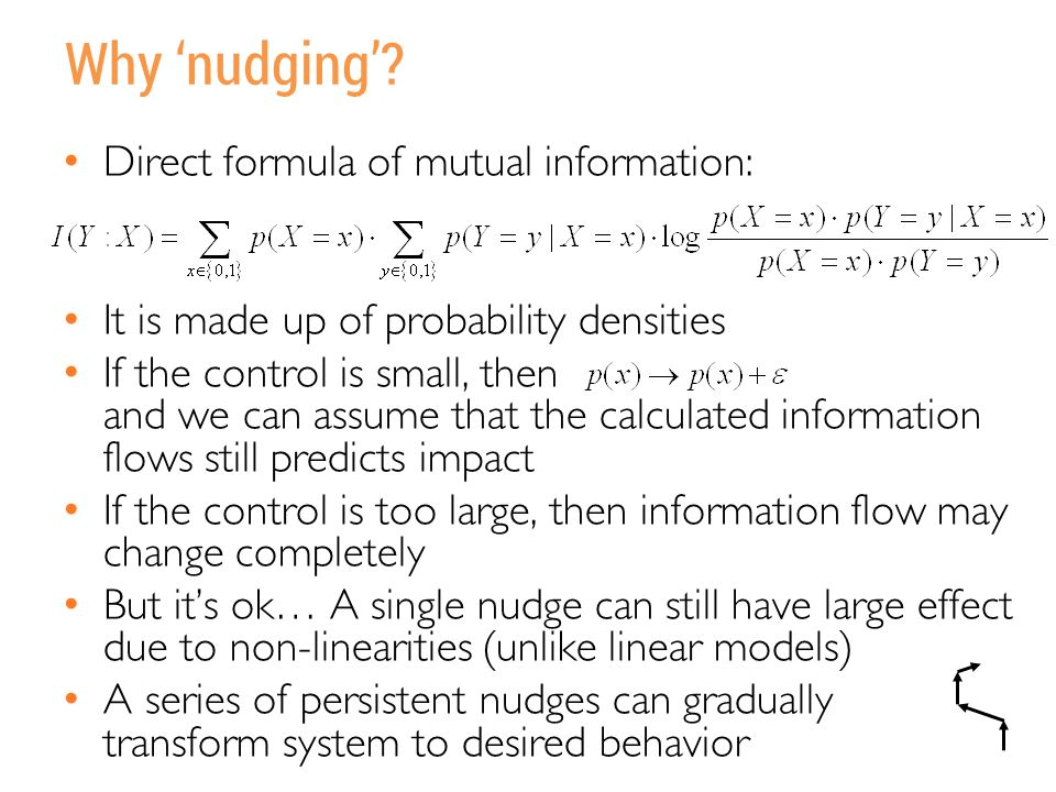 Why 'nudging'? Direct formula of mutual information: It is made up of probability densities If the control is small, then and we can assume that the c
