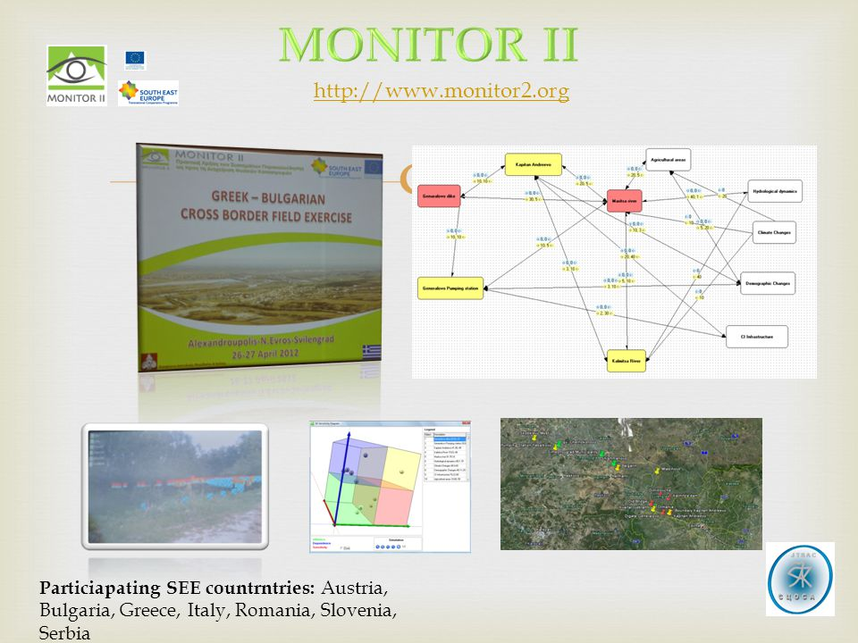  Particiapating SEE countrntries: Austria, Bulgaria, Greece, Italy, Romania, Slovenia, Serbia http://www.monitor2.org