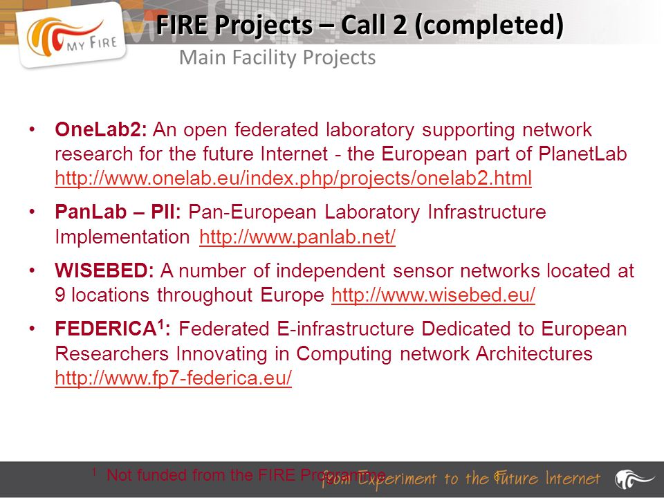 6 FIRE Projects – Call 2 (completed) OneLab2: An open federated laboratory supporting network research for the future Internet - the European part of PlanetLab http://www.onelab.eu/index.php/projects/onelab2.html http://www.onelab.eu/index.php/projects/onelab2.html PanLab – PII: Pan-European Laboratory Infrastructure Implementation http://www.panlab.net/http://www.panlab.net/ WISEBED: A number of independent sensor networks located at 9 locations throughout Europe http://www.wisebed.eu/http://www.wisebed.eu/ FEDERICA 1 : Federated E-infrastructure Dedicated to European Researchers Innovating in Computing network Architectures http://www.fp7-federica.eu/ http://www.fp7-federica.eu/ 1 Not funded from the FIRE Programme Main Facility Projects