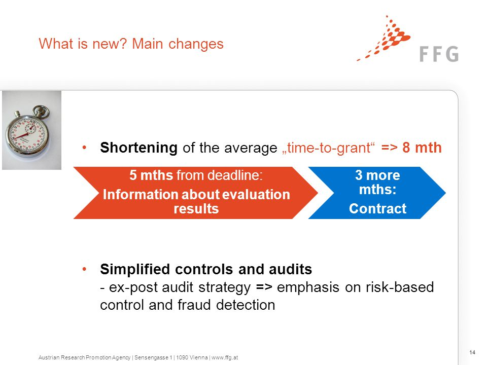 """What is new? Main changes Shortening of the average """"time-to-grant"""" => 8 mth Simplified controls and audits - ex-post audit strategy => emphasis on ri"""