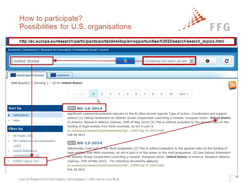 How to participate? Possibilities for U.S. organisations 19 http://ec.europa.eu/research/participants/portal/desktop/en/opportunities/h2020/search/sea