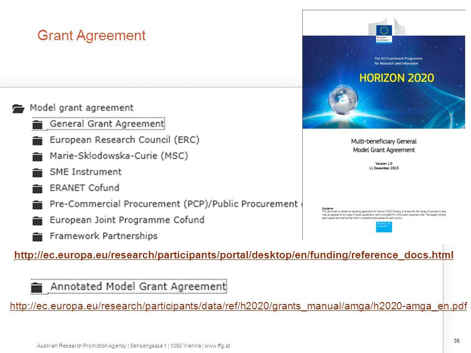 Grant Agreement 35 http://ec.europa.eu/research/participants/portal/desktop/en/funding/reference_docs.html http://ec.europa.eu/research/participants/d