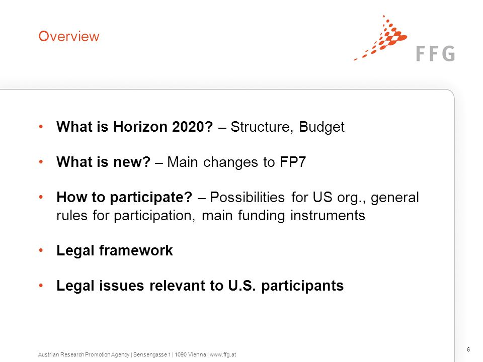 Overview What is Horizon 2020? – Structure, Budget What is new? – Main changes to FP7 How to participate? – Possibilities for US org., general rules f
