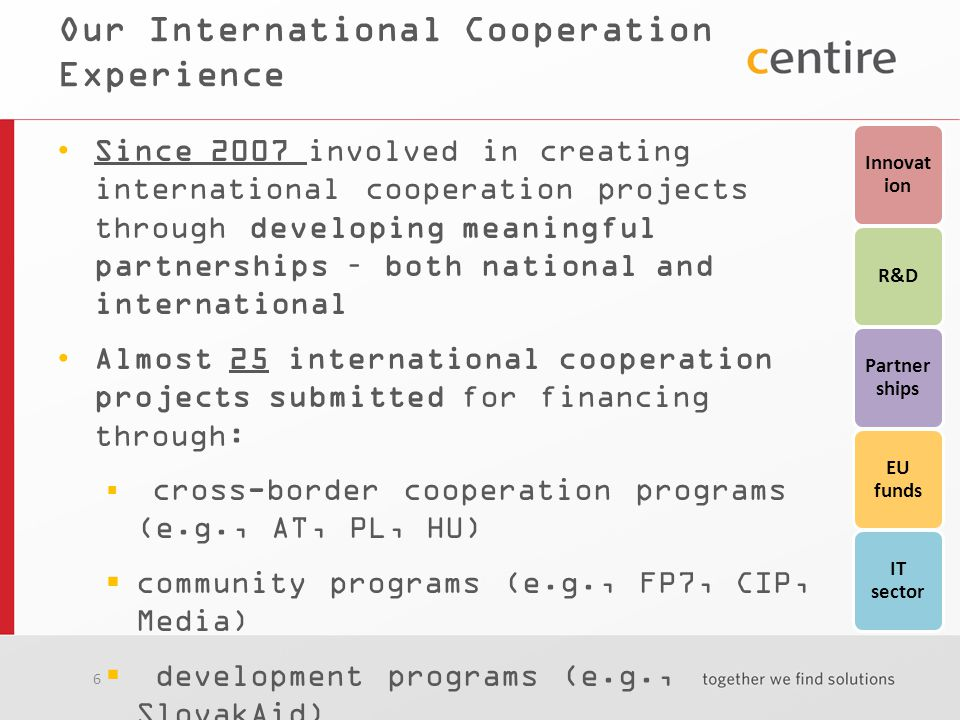 6 Our International Cooperation Experience Since 2007 involved in creating international cooperation projects through developing meaningful partnerships – both national and international Almost 25 international cooperation projects submitted for financing through:  cross-border cooperation programs (e.g., AT, PL, HU)  community programs (e.g., FP7, CIP, Media)  development programs (e.g., SlovakAid) 10 projects in the total value of 8 065 465 EUR implemented or in the course of being implemented Innovat ion R&D Partner ships EU funds IT sector