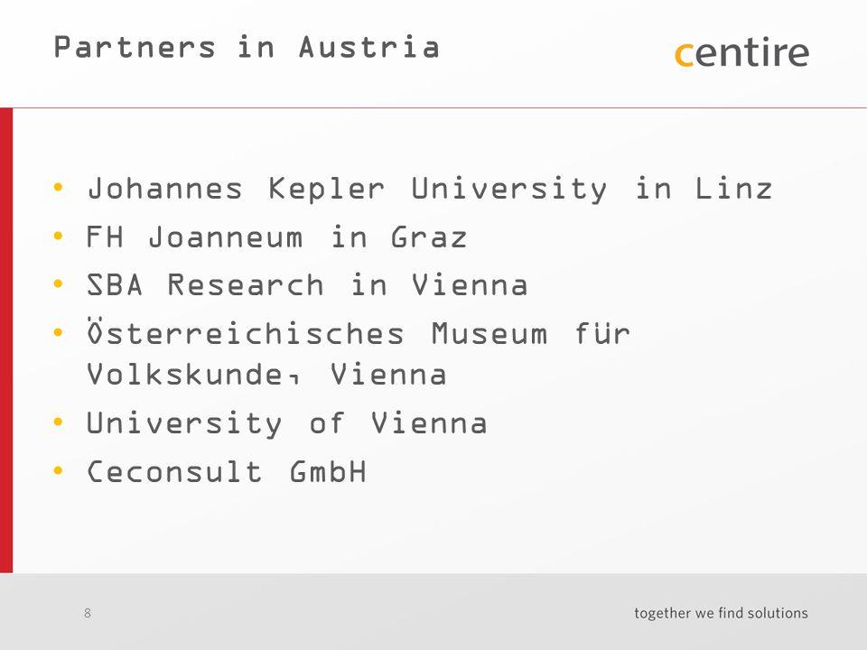 8 Partners in Austria Johannes Kepler University in Linz FH Joanneum in Graz SBA Research in Vienna Österreichisches Museum für Volkskunde, Vienna University of Vienna Ceconsult GmbH