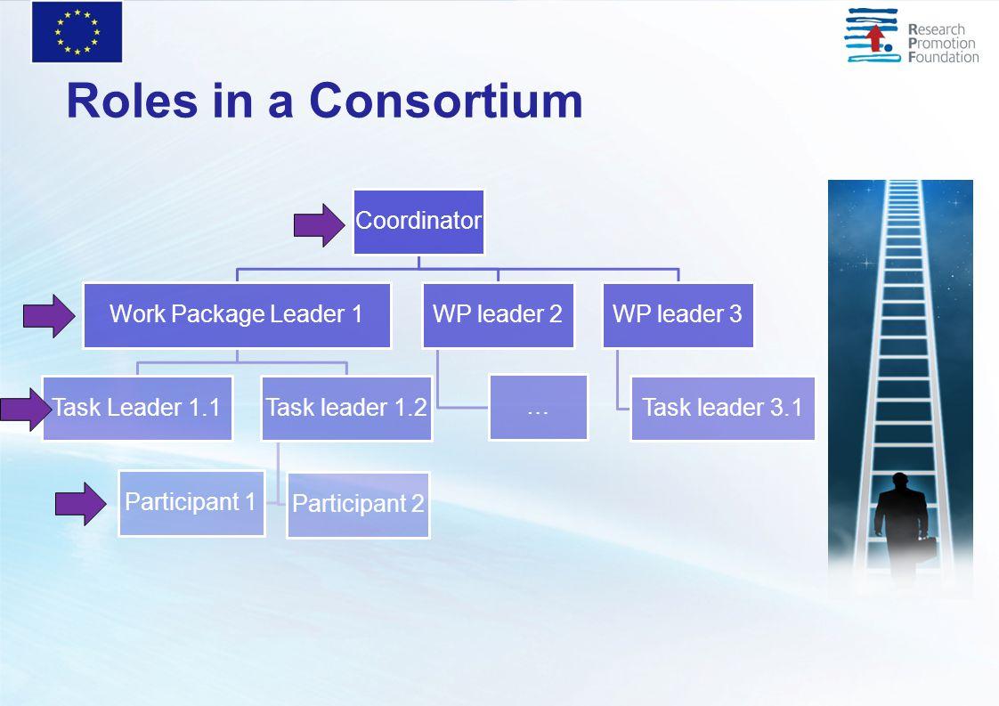 Roles in a Consortium Coordinator Work Package Leader 1 Task Leader 1.1Task leader 1.2 Participant 2 Participant 1 WP leader 2 … WP leader 3 Task lead