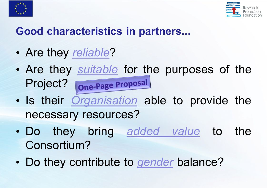 Good characteristics in partners... Are they reliable.