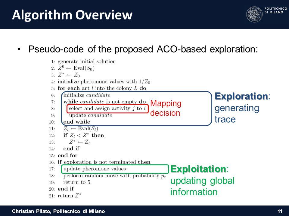 Christian Pilato, Politecnico di Milano Algorithm Overview Pseudo-code of the proposed ACO-based exploration: 11 Exploitation Exploitation: updating g