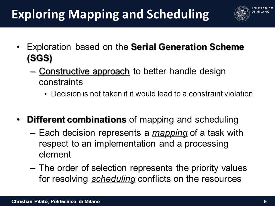 Christian Pilato, Politecnico di Milano Exploring Mapping and Scheduling Serial Generation Scheme (SGS)Exploration based on the Serial Generation Sche