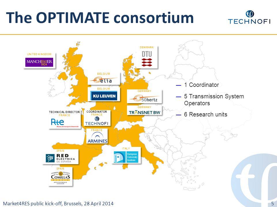 Market4RES public kick-off, Brussels, 28 April 2014 The OPTIMATE consortium — 1 Coordinator — 5 Transmission System Operators — 6 Research units UNITE