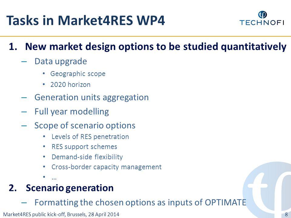 Market4RES public kick-off, Brussels, 28 April 2014 Tasks in Market4RES WP4 1.New market design options to be studied quantitatively – Data upgrade Ge
