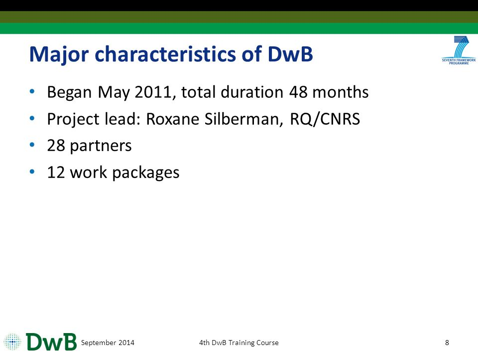 September 20144th DwB Training Course19