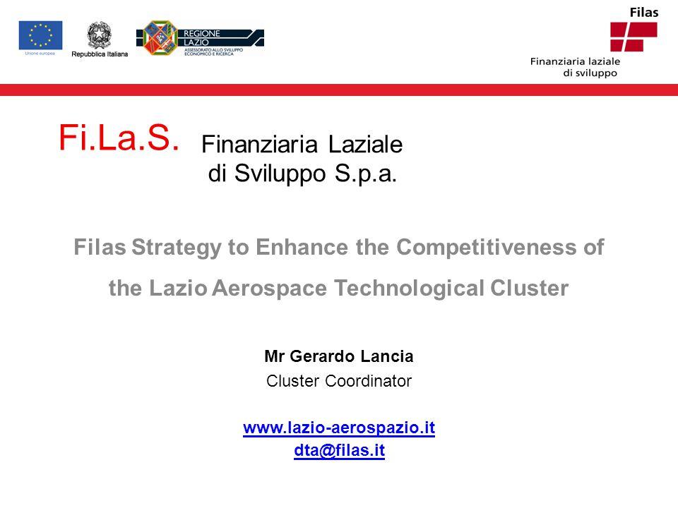 ! Agenda Filas Lazio Aerospace Technological Cluster– DTA DTA key projects DTA - www.lazio-aerospazio.itwww.lazio-aerospazio.it