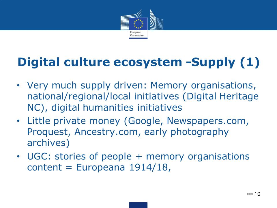 Digital culture ecosystem -Supply (1) 10 Very much supply driven: Memory organisations, national/regional/local initiatives (Digital Heritage NC), dig