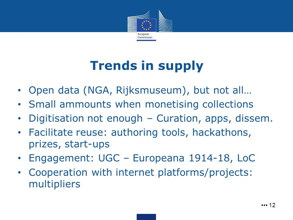 Trends in supply 12 Open data (NGA, Rijksmuseum), but not all… Small ammounts when monetising collections Digitisation not enough – Curation, apps, di