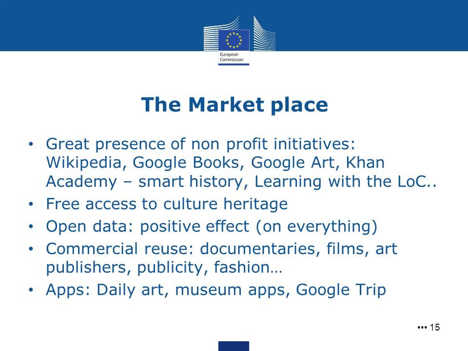 The Market place 15 Great presence of non profit initiatives: Wikipedia, Google Books, Google Art, Khan Academy – smart history, Learning with the LoC
