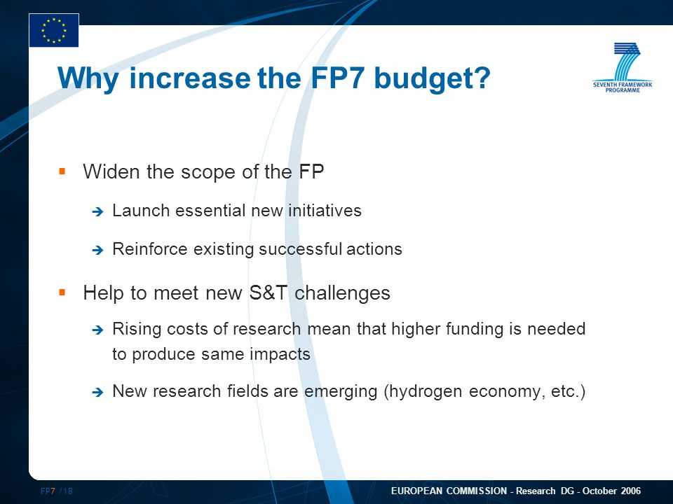 FP7 /18 EUROPEAN COMMISSION - Research DG - October 2006 Why increase the FP7 budget.
