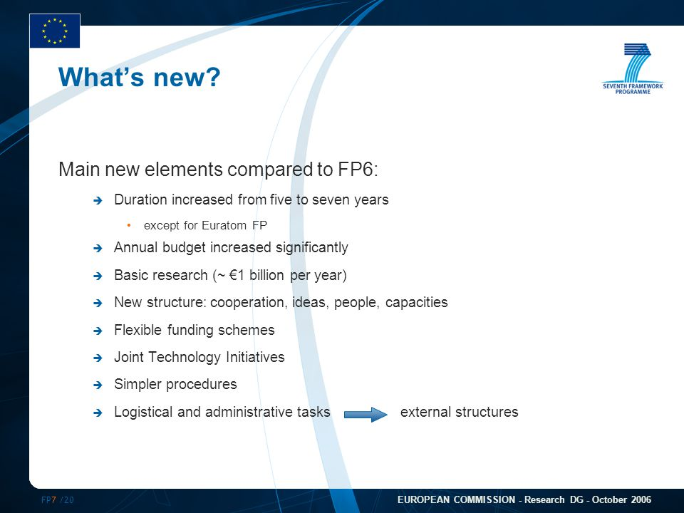 FP7 /20 EUROPEAN COMMISSION - Research DG - October 2006 What's new.