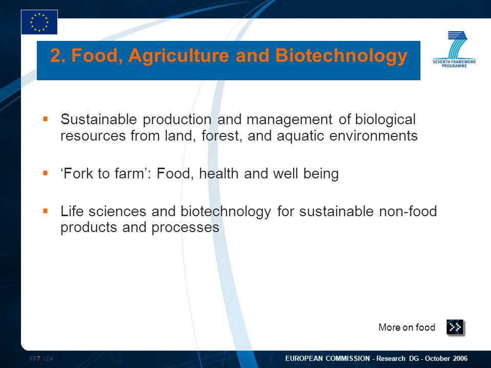 FP7 /24 EUROPEAN COMMISSION - Research DG - October 2006 More on food 2. Food, Agriculture and Biotechnology  Sustainable production and management o