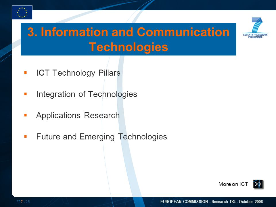 FP7 /25 EUROPEAN COMMISSION - Research DG - October 2006 More on ICT  ICT Technology Pillars  Integration of Technologies  Applications Research  Future and Emerging Technologies 3.