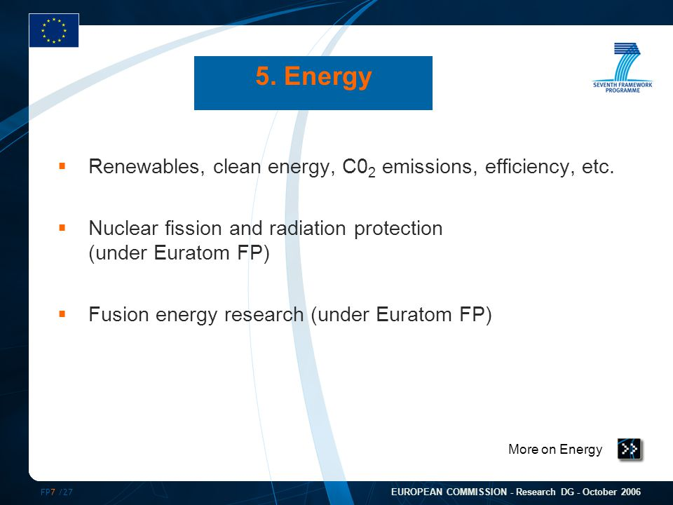 FP7 /27 EUROPEAN COMMISSION - Research DG - October 2006 More on Energy 5.