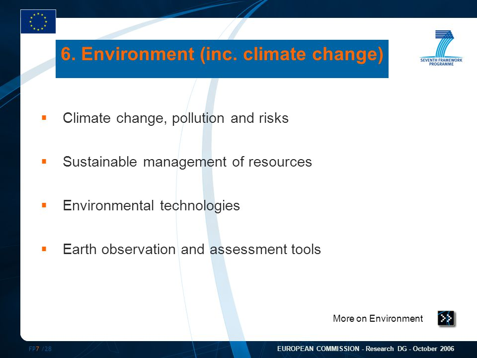 FP7 /28 EUROPEAN COMMISSION - Research DG - October 2006 More on Environment 6. Environment (inc. climate change)  Climate change, pollution and risk