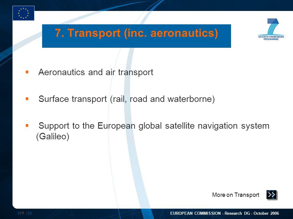 FP7 /29 EUROPEAN COMMISSION - Research DG - October 2006 More on Transport 7. Transport (inc. aeronautics)  Aeronautics and air transport  Surface t