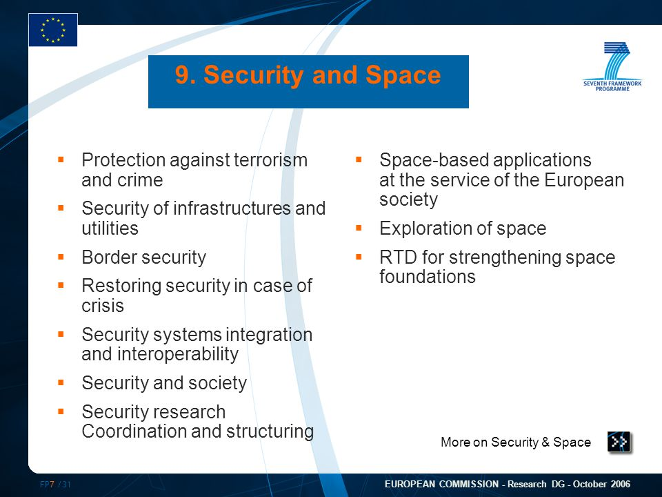 FP7 /31 EUROPEAN COMMISSION - Research DG - October 2006 More on Security & Space 9. Security and Space  Protection against terrorism and crime  Sec