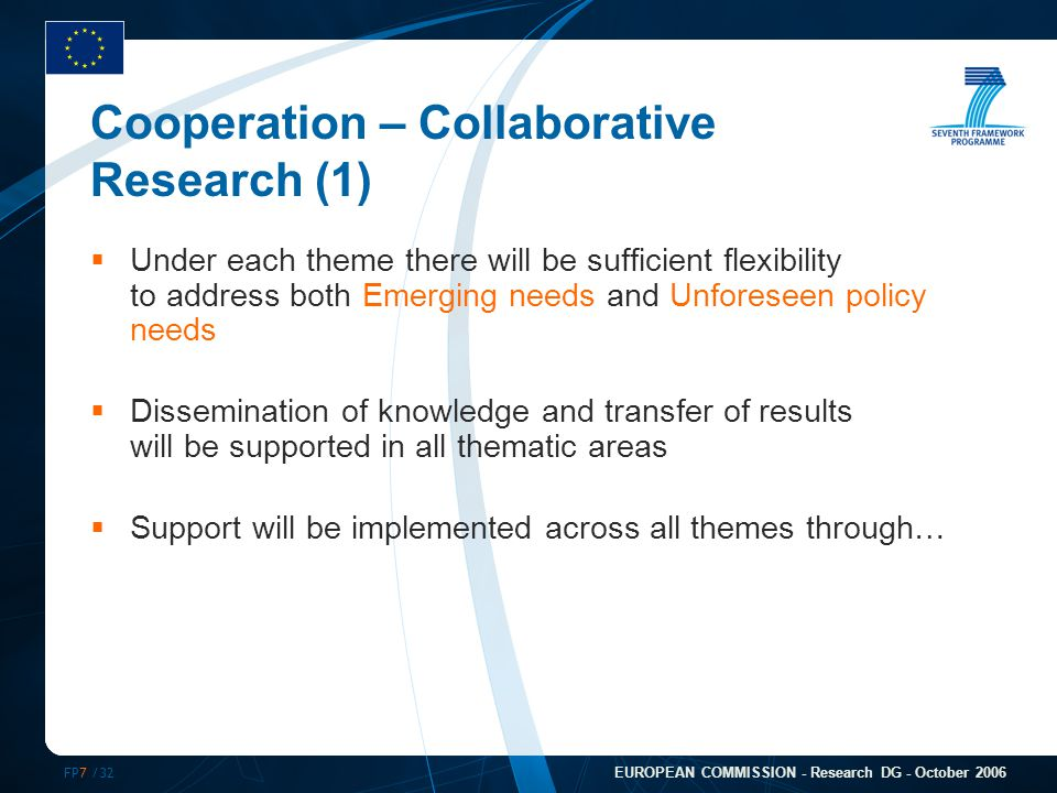 FP7 /32 EUROPEAN COMMISSION - Research DG - October 2006 Cooperation – Collaborative Research (1)  Under each theme there will be sufficient flexibil
