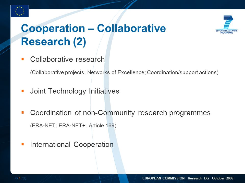 FP7 /33 EUROPEAN COMMISSION - Research DG - October 2006 Cooperation – Collaborative Research (2)  Collaborative research (Collaborative projects; Networks of Excellence; Coordination/support actions)  Joint Technology Initiatives  Coordination of non-Community research programmes (ERA-NET; ERA-NET+; Article 169)  International Cooperation