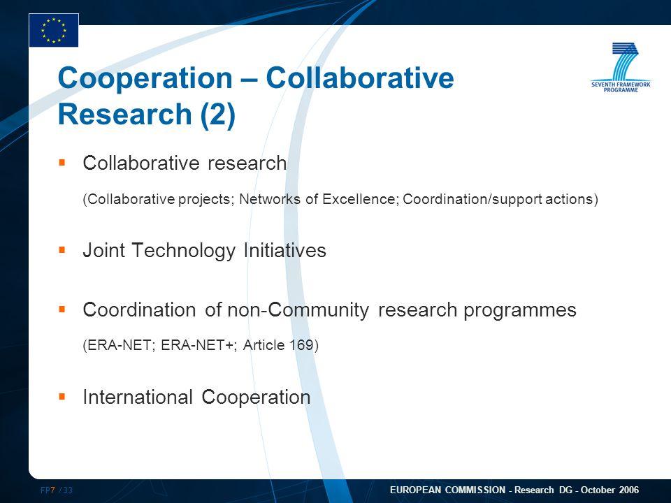 FP7 /33 EUROPEAN COMMISSION - Research DG - October 2006 Cooperation – Collaborative Research (2)  Collaborative research (Collaborative projects; Ne