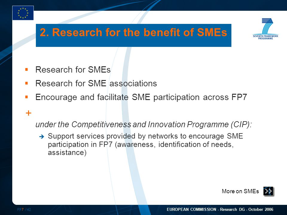 FP7 /42 EUROPEAN COMMISSION - Research DG - October 2006 More on SMEs 2.