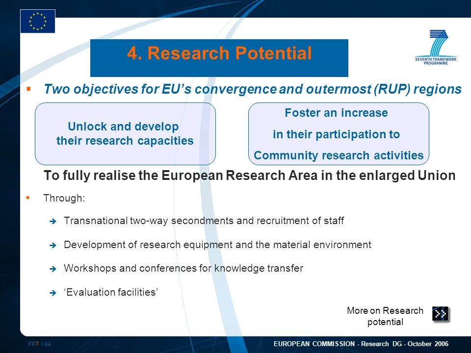 FP7 /44 EUROPEAN COMMISSION - Research DG - October 2006 More on Research potential 4.
