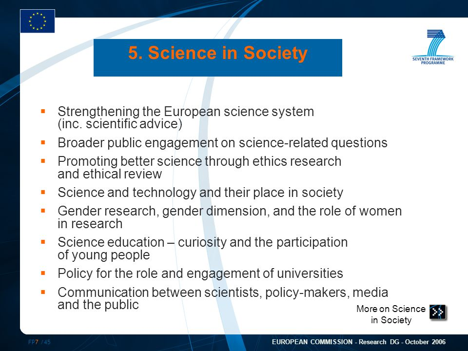 FP7 /45 EUROPEAN COMMISSION - Research DG - October 2006 More on Science in Society 5. Science in Society  Strengthening the European science system