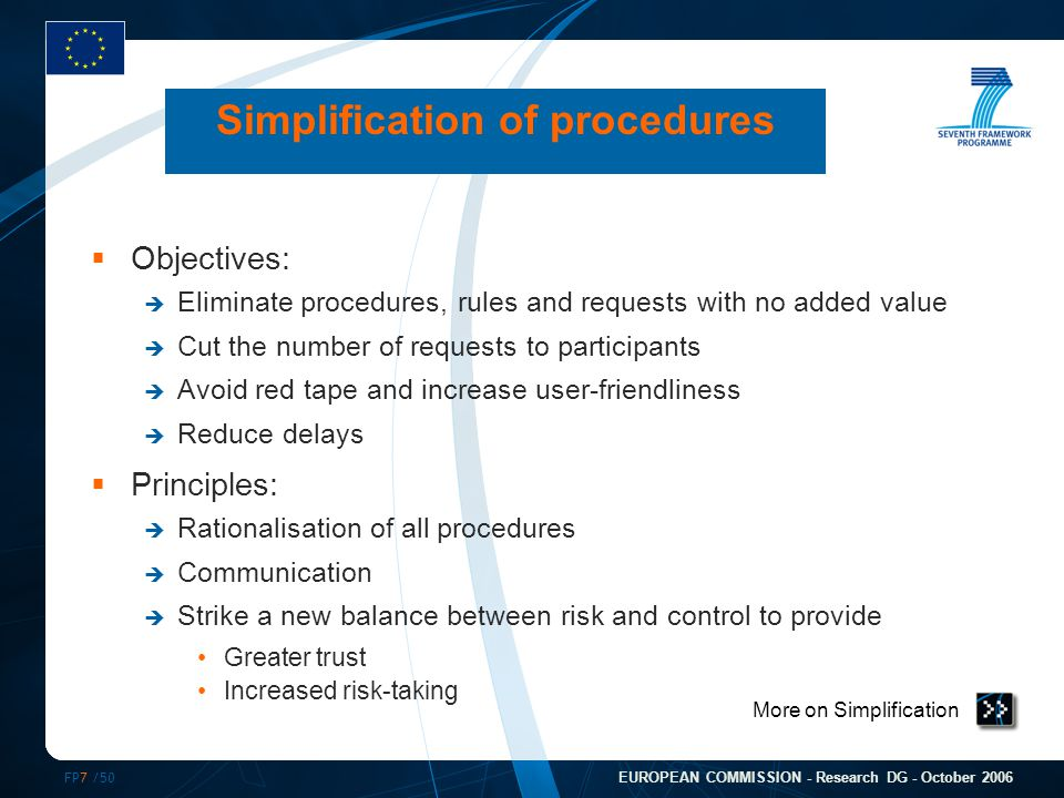 FP7 /50 EUROPEAN COMMISSION - Research DG - October 2006 Simplification of procedures  Objectives:  Eliminate procedures, rules and requests with no