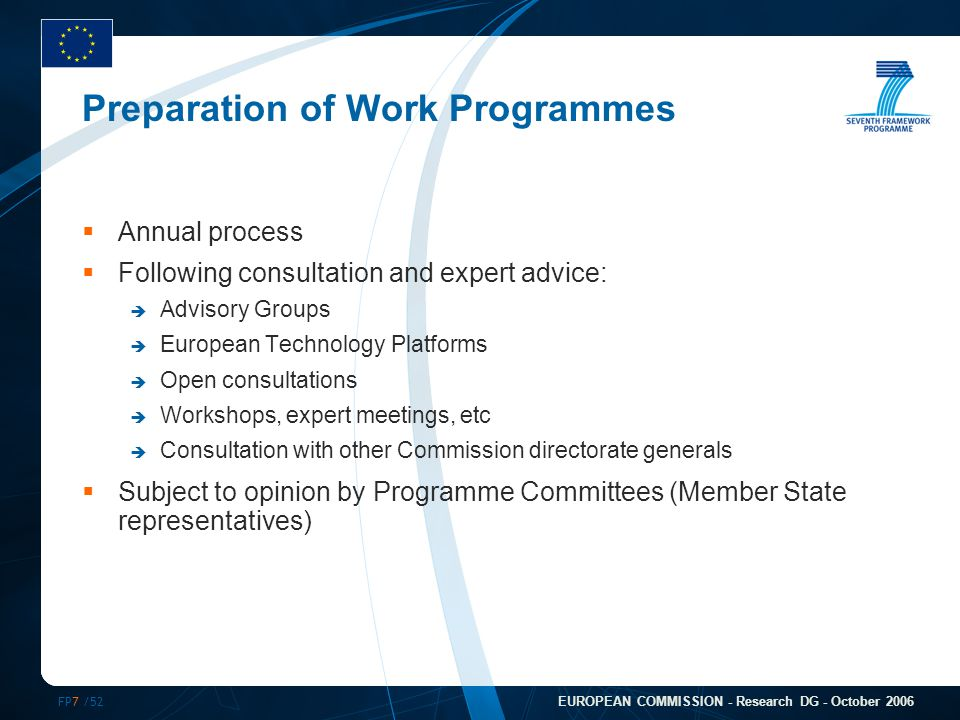 FP7 /52 EUROPEAN COMMISSION - Research DG - October 2006 Preparation of Work Programmes  Annual process  Following consultation and expert advice: 