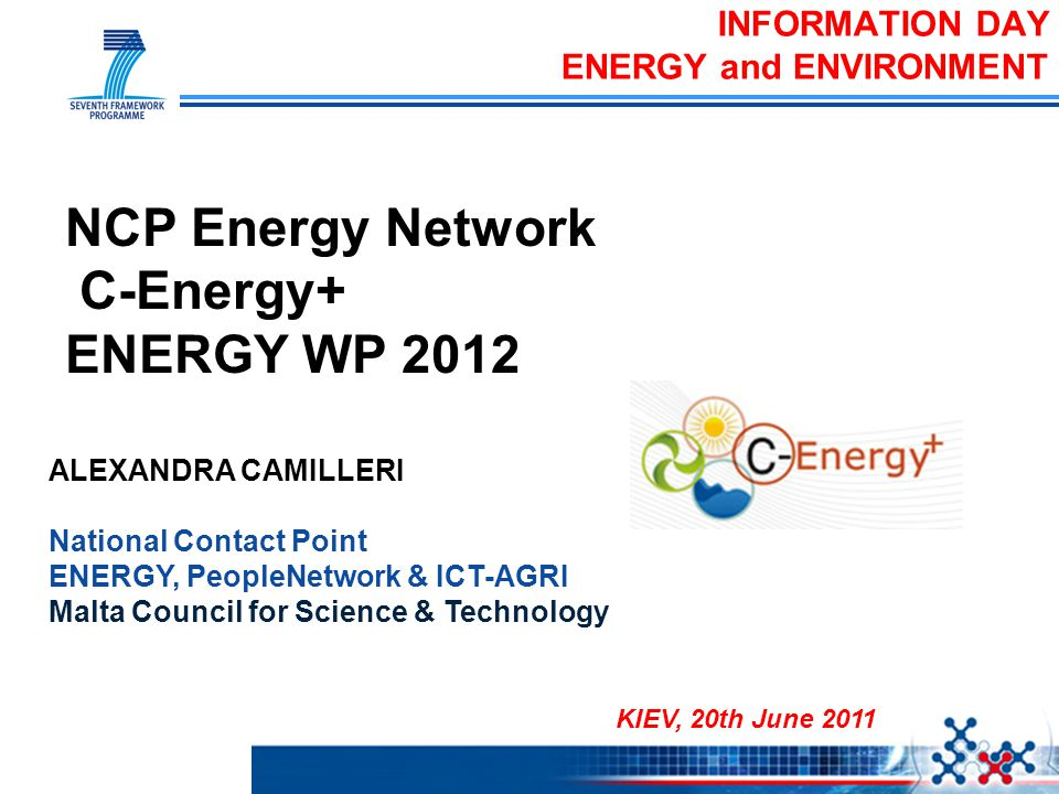 ALEXANDRA CAMILLERI National Contact Point ENERGY, PeopleNetwork & ICT-AGRI Malta Council for Science & Technology INFORMATION DAY ENERGY and ENVIRONM