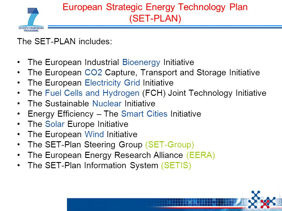 The SET-PLAN includes: The European Industrial Bioenergy Initiative The European CO2 Capture, Transport and Storage Initiative The European Electricit