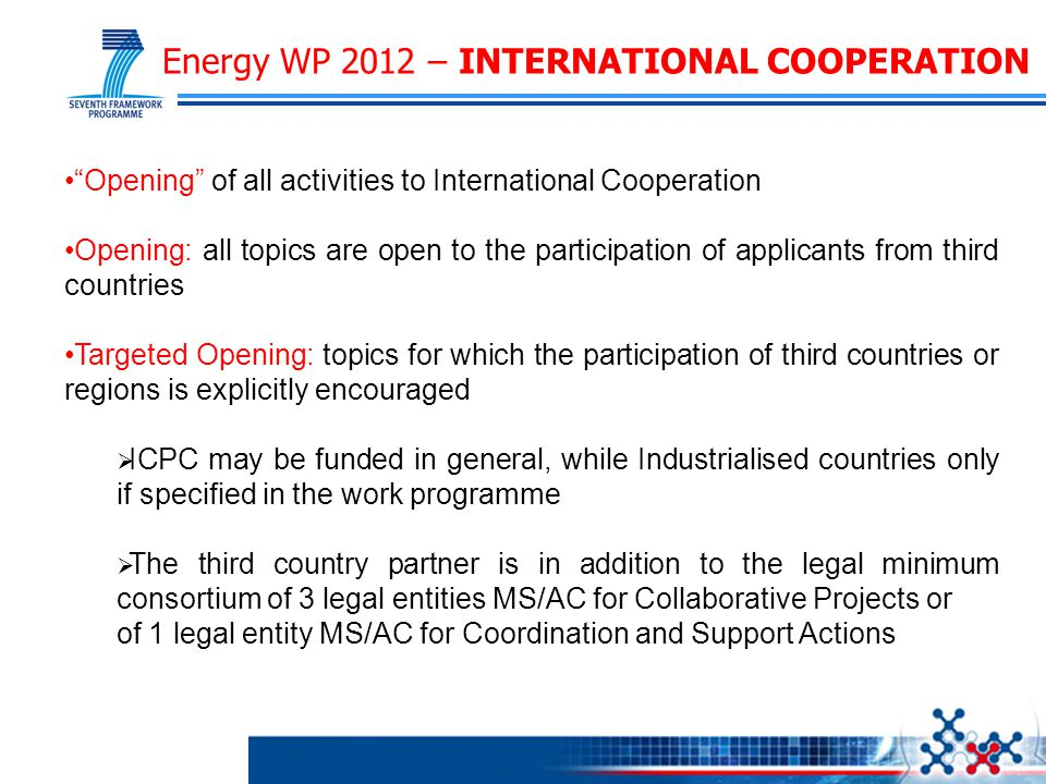 "Energy WP 2012 – INTERNATIONAL COOPERATION ""Opening"" of all activities to International Cooperation Opening: all topics are open to the participation"