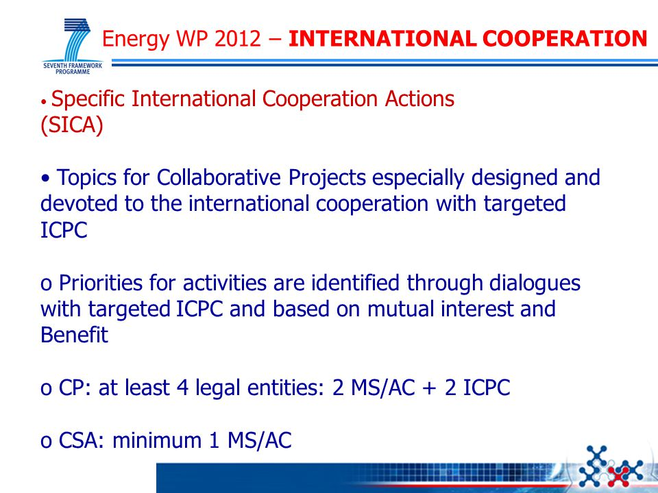 Energy WP 2012 – INTERNATIONAL COOPERATION Specific International Cooperation Actions (SICA) Topics for Collaborative Projects especially designed and