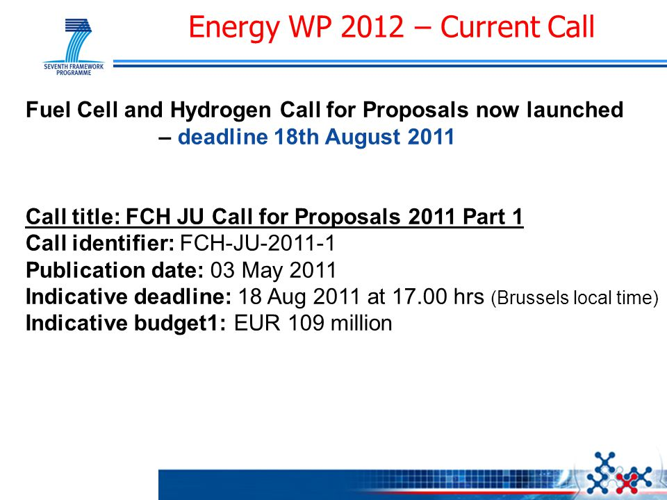Energy WP 2012 – Current Call Fuel Cell and Hydrogen Call for Proposals now launched – deadline 18th August 2011 Call title: FCH JU Call for Proposals