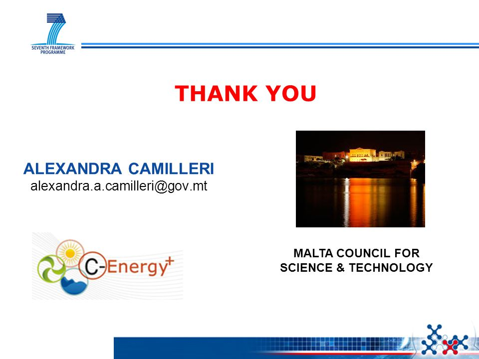 THANK YOU ALEXANDRA CAMILLERI alexandra.a.camilleri@gov.mt MALTA COUNCIL FOR SCIENCE & TECHNOLOGY