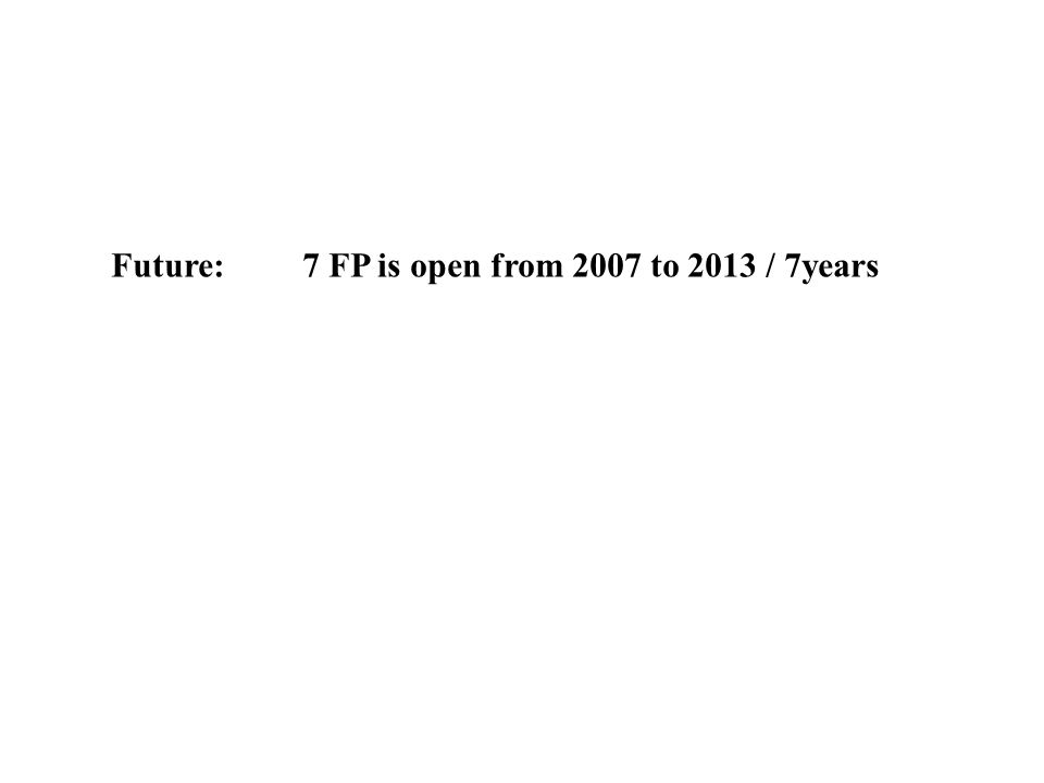Future: 7 FP is open from 2007 to 2013 / 7years