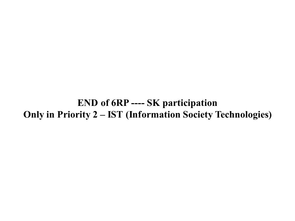 END of 6RP ---- SK participation Only in Priority 2 – IST (Information Society Technologies)