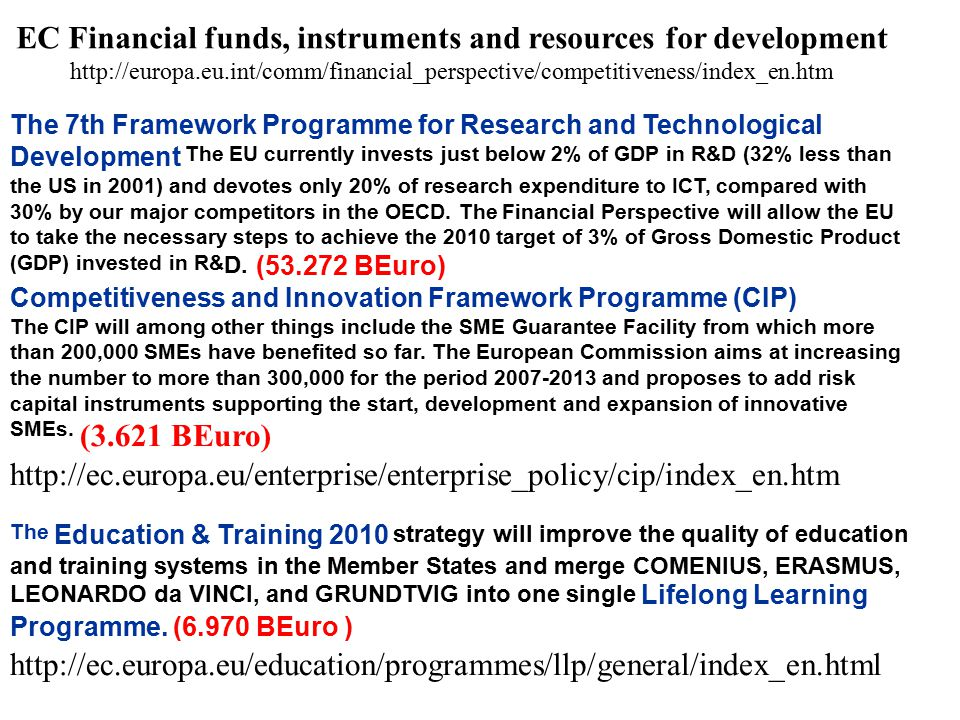 The 7th Framework Programme for Research and Technological Development The EU currently invests just below 2% of GDP in R&D (32% less than the US in 2001) and devotes only 20% of research expenditure to ICT, compared with 30% by our major competitors in the OECD.