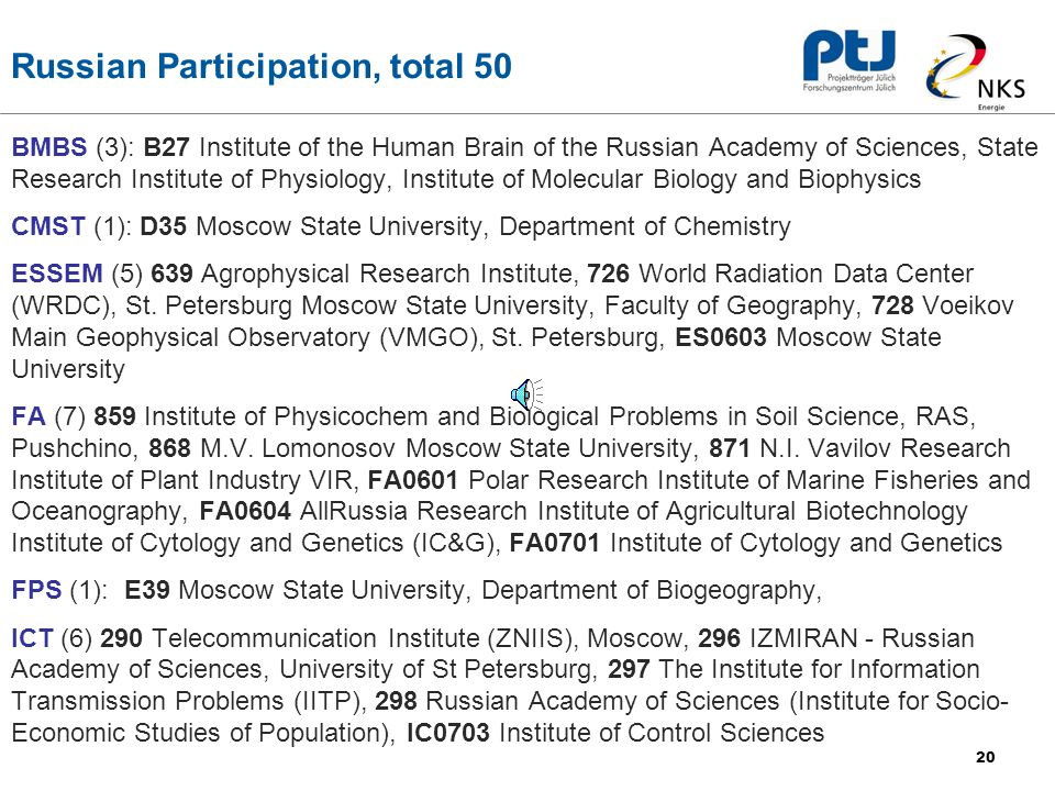 20 Russian Participation, total 50 BMBS (3): B27 Institute of the Human Brain of the Russian Academy of Sciences, State Research Institute of Physiology, Institute of Molecular Biology and Biophysics CMST (1): D35 Moscow State University, Department of Chemistry ESSEM (5) 639 Agrophysical Research Institute, 726 World Radiation Data Center (WRDC), St.