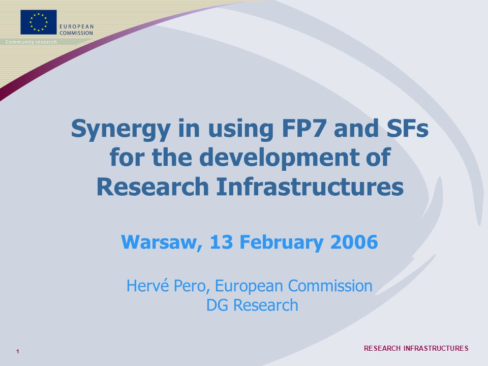 1 RESEARCH INFRASTRUCTURES Synergy in using FP7 and SFs for the development of Research Infrastructures Warsaw, 13 February 2006 Hervé Pero, European