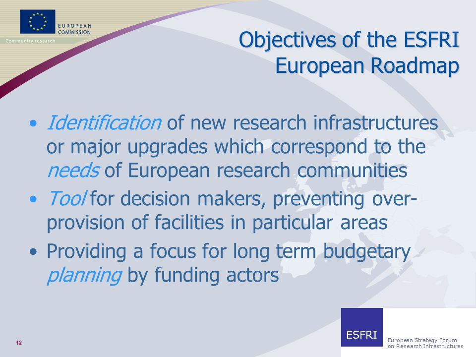 12 RESEARCH INFRASTRUCTURES Objectives of the ESFRI European Roadmap Identification of new research infrastructures or major upgrades which correspond to the needs of European research communities Tool for decision makers, preventing over- provision of facilities in particular areas Providing a focus for long term budgetary planning by funding actors ESFRI European Strategy Forum on Research Infrastructures