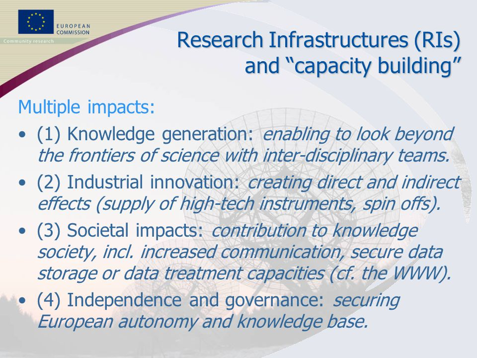"3 RESEARCH INFRASTRUCTURES Research Infrastructures (RIs) and ""capacity building"" Multiple impacts: (1) Knowledge generation: enabling to look beyond"