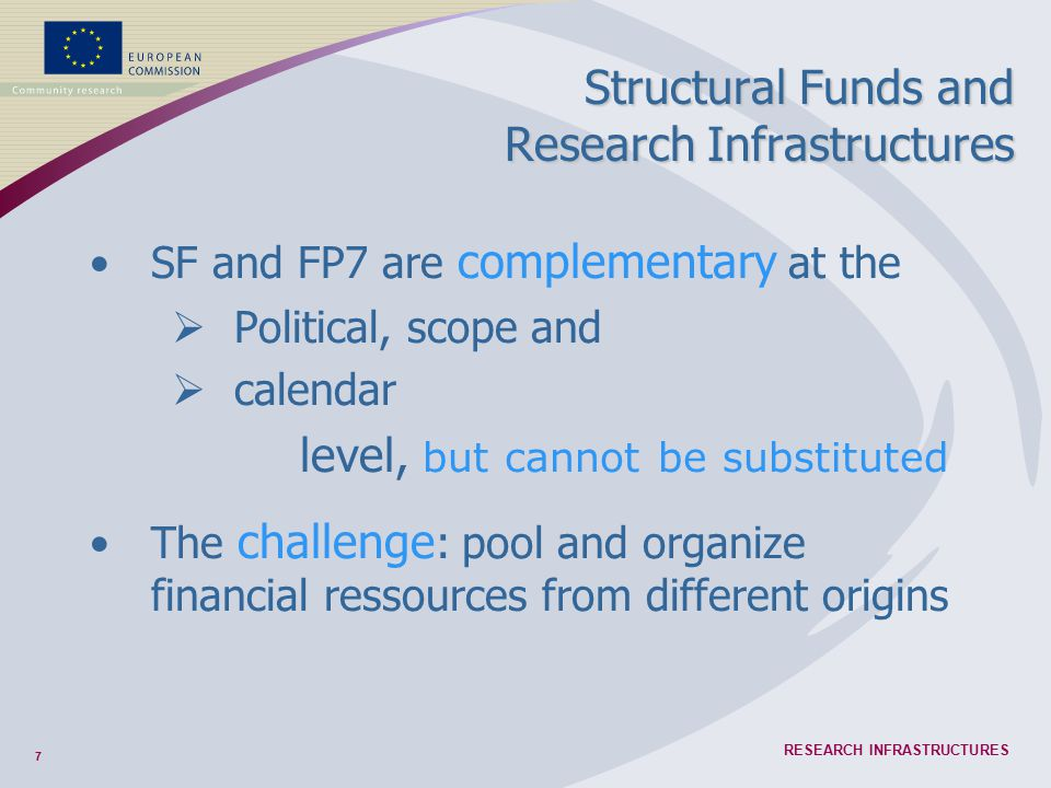 7 RESEARCH INFRASTRUCTURES Structural Funds and Research Infrastructures SF and FP7 are complementary at the  Political, scope and  calendar level,